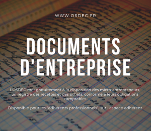 Nouveau document d'entreprise : registre des recettes et des achats